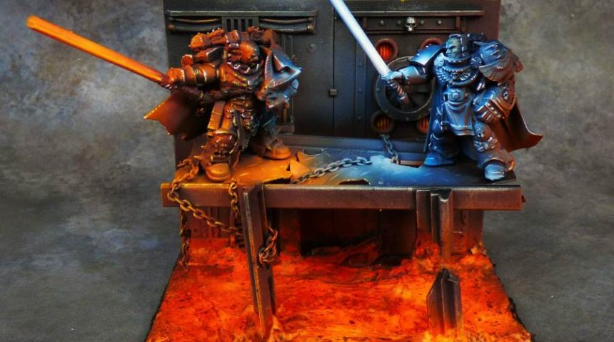 Star Wars and Warhammer crossover diorama
