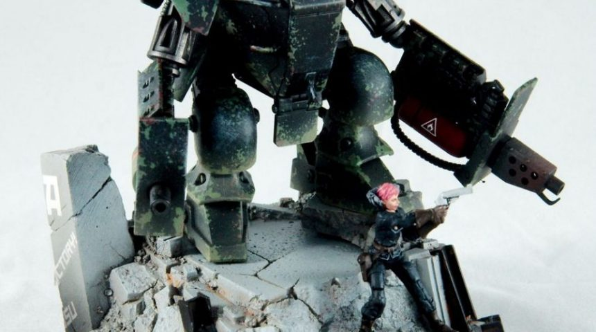 """Nightwatch"" – A mecha diorama from Dust Tactics"